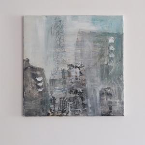 városkép, Művészet, Festmény, Akril, Festészet, Vászonra készült , absztrakt, akril festmény. mérete: 40x40 cm., Meska