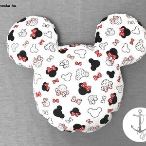 Minnie, Mickey egér fej formájú és mintás puha párna 100% ÖKO-pamutból - PIROS masnis, Játék & Gyerek, Plüssállat & Játékfigura, Egér, Varrás, Saját kreációs Minnie / Mickey egér formájú puha párna, igényesen készítve, minőségi alapanyagokból!..., Meska