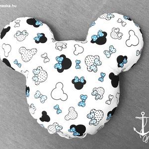 Minnie, Mickey egér fej formájú és mintás puha párna 100% ÖKO-pamutból - KÉK masnis, Otthon & Lakás, Lakástextil, Varrás, Saját kreációs Minnie / Mickey egér formájú puha párna, igényesen készítve, minőségi alapanyagokból!..., Meska