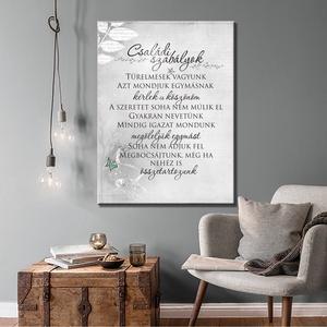 Családi szabályok - vászonkép, fakerettel, Képzőművészet, Otthon & lakás, Grafika, Lakberendezés, Dekoráció, Fotó, grafika, rajz, illusztráció, \n\nCsaládi szabályok, fontos gondolatokat képre rendeztük. Ajándéknak különleges, de ha megszeretted ..., Meska