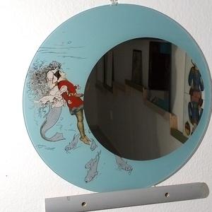Grafotükör sellő mintával, Otthon & lakás, Dekoráció, Képzőművészet, Kép, Vegyes technika, Lakberendezés, Képkeret, tükör, Festett tárgyak, Üvegművészet, A dísztárgyat egy szép régi grafika díszíti. Kézzel festett-mint minden munkám- és grafotükör techn..., Meska