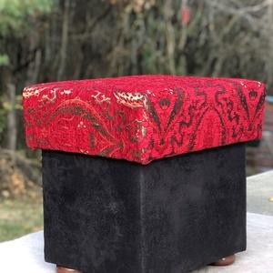 Ottoman puff, Puff, Bútor, Otthon & Lakás, Famegmunkálás, Varrás, Kézműves termék. Ez a kiegészítő bútordarab gyöngyszemként díszítheti otthonát.\n\nFelső rész piros és..., Meska