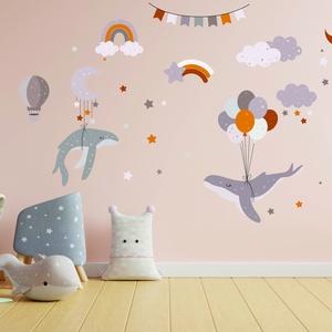 Falmatrica - Varázslatos képvilág bálnákkal, felhőkkel, csillagokkal - bálna- felhő- csillag - Hold - lufi, Otthon & Lakás, Dekoráció, Falmatrica & Tapéta, Fotó, grafika, rajz, illusztráció, Fantáziavilág percek alatt a gyerekszoba falán.\nKedved szerinti elrendezésben ragaszthatod fel a mat..., Meska