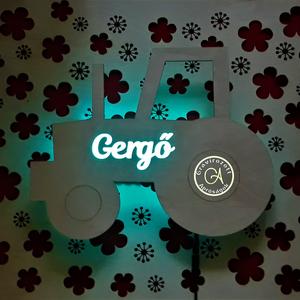 Traktor formájú éjjeli lámpa, Otthon & Lakás, Lámpa, Hangulatlámpa, Egyedi dekorációt szeretnél a gyerekszobába? (nem csak oda ajánljuk :) )  Természetes anyagok és fén..., Meska