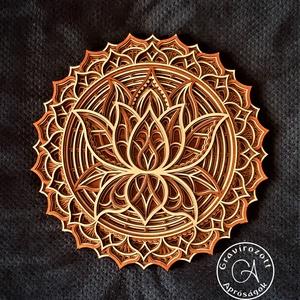 Lótusz mandala 35 cm méretben, Otthon & Lakás, Dekoráció, Mandala, Szinte minden vallásnál találkozhatunk különböző virág szimbólumokkal és ábrázolásokkal, már az egyi..., Meska