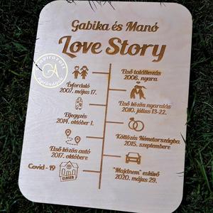 Love Story tábla, Otthon & Lakás, Dekoráció, Táblakép, Love Story A Ti történetetek Vagy egy szerettedé. A közös idő fontos eseményei. Egyéb, más időpontok..., Meska