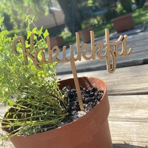 Növényjelölő címke , Névjegykártya, Papír írószer, Otthon & Lakás, Fotó, grafika, rajz, illusztráció, Gravírozás, pirográfia, Növényjelölő táblák fából, aranyozva. A képen látottak minták, először megtervezzük a feliratot és m..., Meska