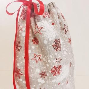 Mikulás zsák, Karácsony & Mikulás, Mikulás, Varrás, Gyönyörű, bélelt Mikulás zsák! Erős anyagból készült, szalaggal lehet összekötni. Mérete: 29x23. ..., Meska