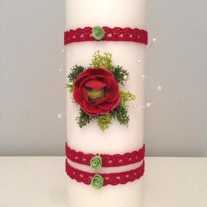 Fehér dekor - gyertya , piros , agyagvirágokkal díszítve  - otthon & lakás - dekoráció - gyertya & gyertyatartó - Meska.hu