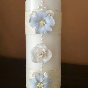 Egyedi ,gyertyás esküvői szett ...  agyagvirágokkal díszítve ! - esküvő - esküvői szett - Meska.hu