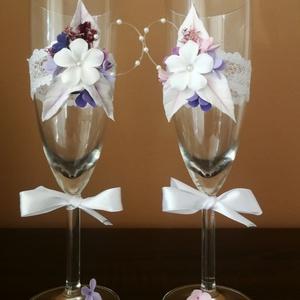 Egyedi esküvői pezsgőspoharak...  agyagvirágokkal díszítve !, Tálalás, Dekoráció, Esküvő, Mindenmás, Gyurma, A pezsgőspoharakat olyan fiatal pároknak ajánlom,akik szeretik a romantikus -vintage stílust és vala..., Meska