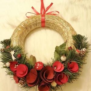 Elegáns ajtódísz a Karácsony jegyében !, Otthon & Lakás, Karácsony & Mikulás, Karácsonyi kopogtató, Mindenmás, Virágkötés, Elegáns ajtódísz a Karácsony jegyében .Átmérője 20 cm .\n\nA  színes háncsvirágok,bogyók és egyéb deko..., Meska