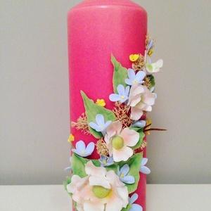 Pink dekor - gyertya , fehér agyagvirágokkal díszítve - otthon & lakás - dekoráció - gyertya & gyertyatartó - Meska.hu