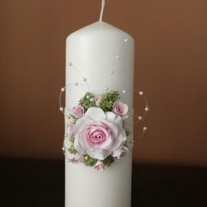 Fehér kézműves dekor - gyertya , esküvői Ceremóniához !, Gyertya & Gyertyatartó, Dekoráció, Esküvő, Mindenmás, Gyurma, Tedd különlegessé esküvőd gyertya-ceremóniáját ezzel az elegáns gyertyával. Amennyiben más színű vir..., Meska