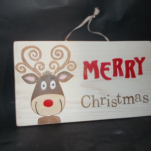 Rudi Merry Christmas Karácsony dekoráció, Karácsonyi dekoráció, Karácsony & Mikulás, Otthon & Lakás, Famegmunkálás, Festett tárgyak, Boldog Karácsonyt! Merry Christmas. Rudi, adventi szarvas dekoráció, kopogtató, ajtódekoráció. Kézze..., Meska