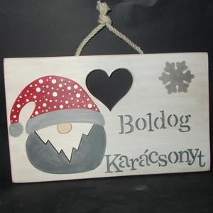 Boldog Karácsonyt manó kopogtató, Karácsonyi dekoráció, Karácsony & Mikulás, Otthon & Lakás, Famegmunkálás, Festett tárgyak, Boldog karácsonyt, manós adventi dekoráció, kopogtató, ajtódekoráció. Kézzel vágott, kézzel festett,..., Meska