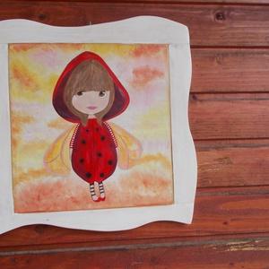 Katica kislány rusztikus kézzel festett kép Piroska, Otthon & Lakás, Lakberendezés, Famegmunkálás, Festett tárgyak, Katica kislány, kézzel festett kép, rusztikus, egyedi kerettel. Dekoráció, gyerekszoba dísz. Kézzel ..., Meska
