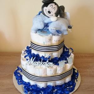 Mickey egeres kétszintes pelenkatorta , Játék & Gyerek, Babalátogató ajándékcsomag, Mindenmás, Baba látogatóba készülsz vagy éppen a kolléganőd babát vár? Nem tudod mit vigyél ajándékba? Pelenkat..., Meska