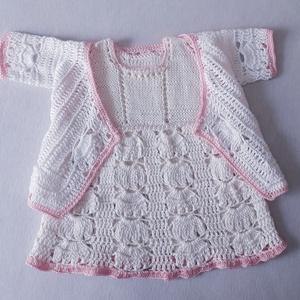 Horgolt-kötött ruhácska felsővel 8-12 hónapos kislányoknak , Ruha & Divat, Babaruha & Gyerekruha, Keresztelő ruha, Horgolás, Kötés, 100% pamut fonalból kötött-horgolt ruhácska, gyöngyökkel, hozzáillő rövid ujjú felsővel a kánikulai ..., Meska