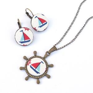 Irány a tenger! - textilgombos ékszerszett (Gubancbolt) - Meska.hu
