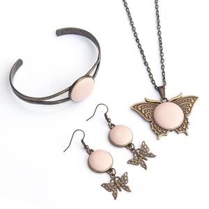 Rózsaszín pillangó - textilbőr  ékszerszett (Gubancbolt) - Meska.hu