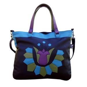 Népi mintás tulipános táska (fekete) (gubolyka) - Meska.hu