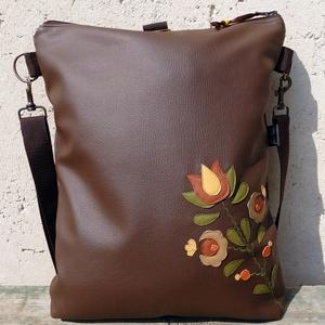 Kalocsai virágos hátizsák és oldaltáska egyben (barna) (gubolyka) - Meska.hu