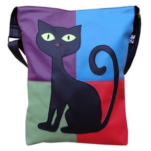 Színes fekete cicás táska (gubolyka) - Meska.hu
