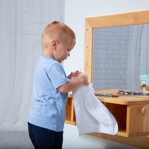 Montessori mosdó és tükör - Éger fából - játék & gyerek - készségfejlesztő & logikai játék - Meska.hu