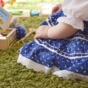 Kékfestő 110-152-es lány ruha madeira  csipke díszít0éssel (gyetomi) - Meska.hu