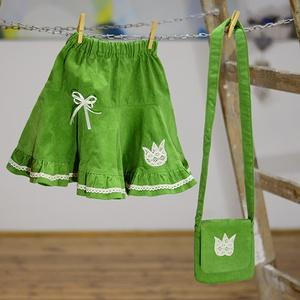 PÖRGŐS kord szoknya, zöld, 110-164-es, lány, pamut  csipke díszítéssel  (gyetomi) - Meska.hu