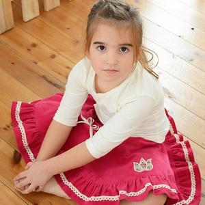 PÖRGŐS kord szoknya, 110-164-es, sötét rózsaszín, lány, pamut  csipke díszítéssel , Táska, Divat & Szépség, Gyerekruha, Ruha, divat, Gyerek & játék, Gyerek (1-10 év), Kamasz (10-14 év), Varrás, Hímzés, A sötét rózsaszín, pörgős, lány kordbársony szoknya anyaga bőrbarát: 95 % pamut, 5 % elasztán (ez ut..., Meska