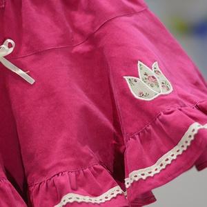PÖRGŐS kord szoknya, 110-164-es, sötét rózsaszín, lány, pamut  csipke díszítéssel  (gyetomi) - Meska.hu