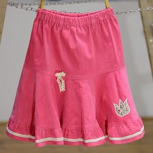 PÖRGŐS kord szoknya, 74-104-es, világos rózsaszín, lány, pamut  csipke díszítéssel  (gyetomi) - Meska.hu