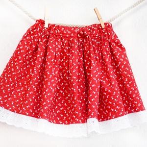 PÖRGŐS, állítható derekú, 2 szélhosszas, 50-80 cm hossz, tulipános pirosfestő mintájú néptáncos szoknya, Szoknya, Női ruha, Ruha & Divat, Varrás, A néptáncos szoknyát úgy alkottuk meg, hogy több évig is viselhessék a lányok, hölgyek és asszonyok,..., Meska