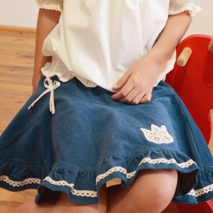 PÖRGŐS kord szoknya, kék, 110-164-es, lány, pamut  csipke díszítéssel , Táska, Divat & Szépség, Gyerekruha, Ruha, divat, Gyerek & játék, Gyerek (1-10 év), Kamasz (10-14 év), Varrás, Hímzés, A kék, pörgős, lány kordbársony szoknya anyaga bőrbarát: 95 % pamut, 5 % elasztán (ez utóbbitól váli..., Meska