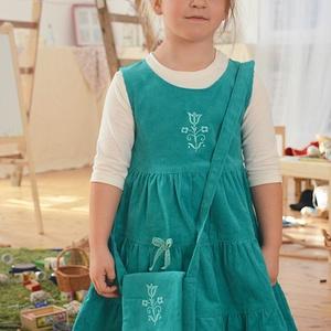Kord ruha 110-152-es, világos türkiz kék, hímzéssel, pamut csipkével, Táska, Divat & Szépség, Gyerekruha, Ruha, divat, Gyerek & játék, Gyerek (1-10 év), Kamasz (10-14 év), Hímzés, Varrás, A kordbársony ruha anyaga bőrbarát: 95% pamut, 5% elasztán ( ez utóbbitól válik sztreccsé a textil)...., Meska