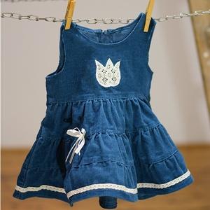 Kord ruha 110-152-es, sötét türkiz kék,  hímzéssel, pamut csipkével, Táska, Divat & Szépség, Gyerekruha, Ruha, divat, Gyerek & játék, Kamasz (10-14 év), Gyerek (1-10 év), Hímzés, Varrás, A kordbársony ruha anyaga bőrbarát: 95% pamut, 5% elasztán ( ez utóbbitól válik sztreccsé a textil)...., Meska