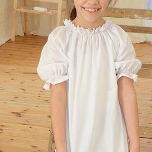 Blúz 110-164-es, fehér, alul sima, Táska, Divat & Szépség, Gyerekruha, Ruha, divat, Gyerek & játék, Gyerek (1-10 év), Kamasz (10-14 év), Varrás, Ez a 100 % pamutból készült blúz kényelmes és csinos viselet kicsiknek és nagyoknak.\n A blúz nyaka g..., Meska