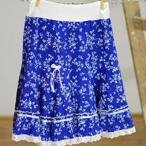 PÖRGŐS szoknya 110-164-es, pamut, virágcsokros világos kékfestő  (gyetomi) - Meska.hu