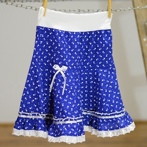 PÖRGŐS szoknya 110-164-es, pamut, tulipános világos kékfestő  (gyetomi) - Meska.hu