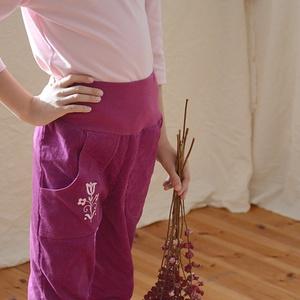 PASSZÉS derekú, kényelmes kord nadrág, 110-164-es, sötét rózsaszín, lány, rózsaszín virág hímzéssel  (gyetomi) - Meska.hu