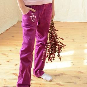 PASSZÉS derekú, kényelmes kord nadrág, 62-164-es,bíbor lila, lány, rózsaszín virág hímzéssel , Táska, Divat & Szépség, Gyerekruha, Ruha, divat, Gyerek & játék, Baba (0-1év), Gyerek (1-10 év), Varrás, Hímzés, A lány kordbársony nadrágunk anyaga bőrbarát: 95% pamut, 5% elasztán ( ez utóbbitól válik sztreccsé ..., Meska