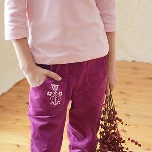 PASSZÉS derekú, kényelmes kord nadrág, 110-164-es, bíbor lila, lány, rózsaszín virág hímzéssel  (gyetomi) - Meska.hu