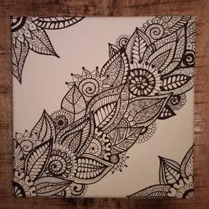 Színezhető virágmotívumos vászonkép-minta 3., Otthon, lakberendezés, Képzőművészet, Falikép, Grafika, Fotó, grafika, rajz, illusztráció, A képet vakrámára feszített vászonra készítettem fekete alkoholos filccel. A minta teljesen egyedi,..., Meska