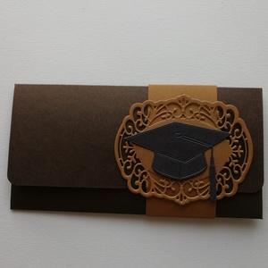 Pénzátadó boríték diplomaosztóra, Naptár, képeslap, album, Otthon & lakás, Ajándékkísérő, Papírművészet, Gyöngyházfényű kartonból készítettem minimál pénzátadó borítékot ballagásra. \nMérete: 18,5x9,5 cm. ..., Meska