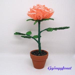 Bordó, narancssárga, színjátszó lila rózsa gyöngyből. cserepes dísz (gyongyfonat) - Meska.hu