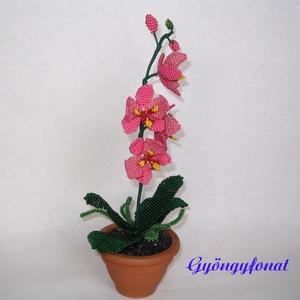 Orchidea erős rózsaszín,  cserépben, asztali dísz (gyongyfonat) - Meska.hu