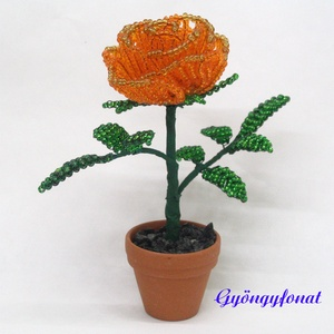Narancssárga rózsa gyöngyből. cserepes dísz (gyongyfonat) - Meska.hu