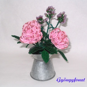 Rózsa levendulával gyöngyből cink kannában,  asztaldísz (gyongyfonat) - Meska.hu